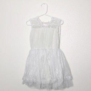 Popatu Girls Lace Tulle Dress- Off White